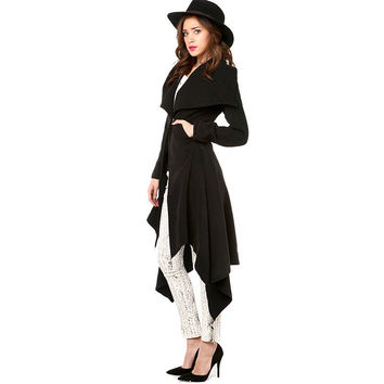 Black Wide Lapel Collar Woolen Coat
