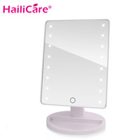 LED Touch Screen Makeup Mirror Professional Vanity Mirror With 16 LED Lights Health Beauty Adjustable Countertop 180 Rotating