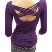 Patty Women Unique Strings Back Scoop Neck Long Sleeve Blouse Top (Purple Small)