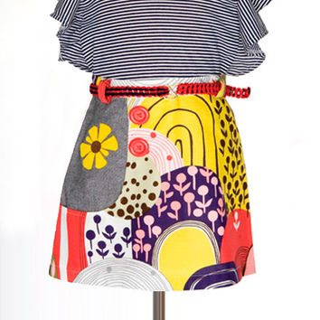 Floral Print Skirt with Flower Applique