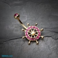 Golden Sparkle Anchor Wheel Belly Button Ring