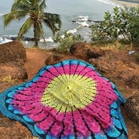 Colorful Round Beach Bed Wall Table Boho Tapestry