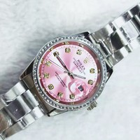 Rolex Watch Women's fashion quartz leisure watch Print Watch Pink