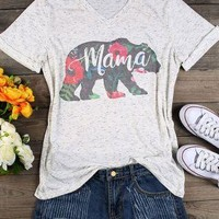 Hillbilly T Shirt Women V Neck Short Sleeve Summer Floral Mama Bear T-Shirt Casual Female Tee Ladies Top White Cute T Shirt Gift