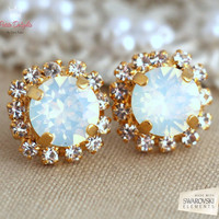 White Opal earrings, White Opal Swarovski Studs earrings, Crystal earrings, Bridesmaids jewelry, Wedding jewelry, Gift for her, Opal studs