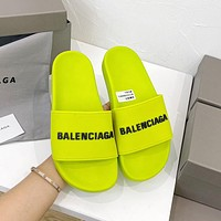 Balenciaga BB fashion men's and women's sandals solid color beach casual slippers