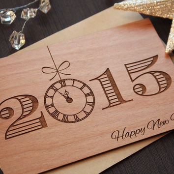 Wooden New Years Cards - New Years Day 2015