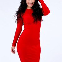 Fitted Lond Sleeve Dress (Red)