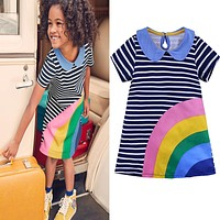 Rainbow colorful girls dress Toddler Kid Girls Short Sleeve Dress Casual Cotton Dress Summer Clothes