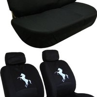 Front Low Back Seat Covers and Bench Black Seat Cover Set - Mustang Horse Pony Custom Embroidered Logo
