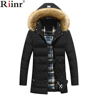 Riinr 2017 New Arrival Fashion Brand Clothing Jackets Business Long Thick Winter Coat Men Solid Parka Fashion Overcoat Outerwear