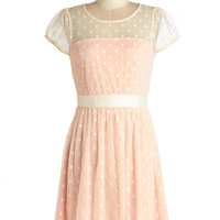 ModCloth Pastel Mid-length Cap Sleeves A-line Endearing Engagement Dress