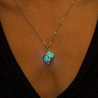 Aqua Glow Necklace - Glow in the Dark Necklace - Cube Necklace - Turquoise Necklace - Aqua Necklace - Silver Necklace