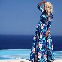 Autumn Half-sleeve Floral Print Princess Dress Prom Dress One Piece Dress [4919469828]