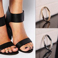 S Silver Gold Simple Foot Jewelry Beach Jewelry Metal Adjustable Toe Rings SM6