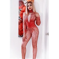 Honey Comb Red Diamante Jumpsuit (Rhinestones)(Ready To Ship)