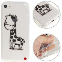 Generic Giraffe Pattern Transparent TPU Protective Gel Rubber Case Cover for Apple iPhone 5C