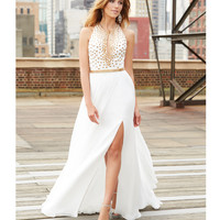Ivory Gold Studded Chiffon Gown