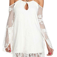 White Cut Out Spaghetti Strap Mini Dress with Lace Sleeve