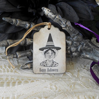 Coffee Stained Witch Tags Halloween Steampunk Grunge Primitive Gift Tags Labels Party Favors Distressed Vintage Style