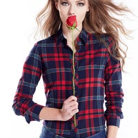 Navy And Red Plaid Print Long Sleeve Shirt Collar Blouse