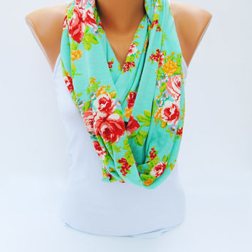 GREEN FLORAL SCARF, Teal floral scarf, bright mint infinity scarf, eternity scarf, beautiful t shirt scarf, girly loop scarf