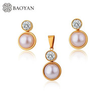 Gold Plated Jewelry Sets For Women Simulated-pearl Earring With Pendant Jewelry Sets Stainless Steel crystal Wedding Jewelry Set