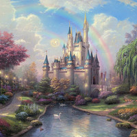 Disney Oil Paintings Thomas Kinkade New  Day at the Cinderella Castle  Giclee Art Print On Canvas 24X36 inch no frame