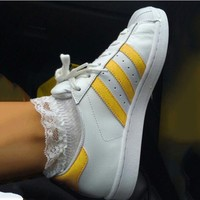 """""""Adidas"""" Suprstar Flats Shoes Shell-toe Wome Men Sport Shoes Gold"""