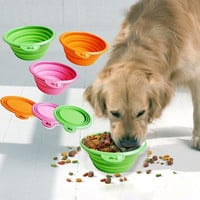 Collapsible foldable silicone dow bowl candy color outdoor travel portable puppy doogie food container feeder dish