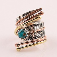 Blue Copper Turquoise Three Tone Sterling Silver Adjustable Wrap Ring
