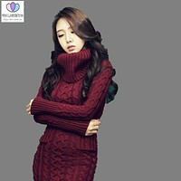 2017Autumn Winter Fashion Women High Collar Slim Sweater Dress Casual Warm Solid Color Big yards Long Bottoming Knit Dress G0077