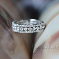 Diamond Ring 14k White Gold Ring with 1.1ct H/SI Diamond Wedding Ring Engagement Ring Diamond Anniversary Ring