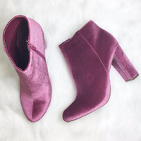 Call Me Up Mauve Velvet Bootie