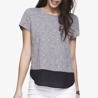 Marble Nep Knit And Crepe Tee from EXPRESS