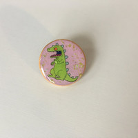 Reptar 90s nickelodeon nicktoons rugrats cute pinback button pin brooch with holographic glitter flakes