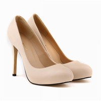 Womens Pumps Round Toe Matte PU Leather Sexy High Heels Shoes Platform Nude Work Pumps