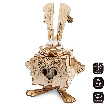 308pcs Laser Cutting Movable Model Building Kits Assembling Toys Gift for Children Adults Wooden Music Box Mechanical Music Box Robot Home Decoration  Dress Shoes Bikini