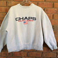 Vintage Chaps by Ralph Lauren Sweatshirt Pullover Grey Large