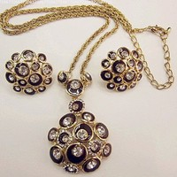 Elegant Gold Plated Clear Crystal Chocolate Brown Flower Design Necklace Earring Set