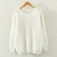 Womens White Mohair Knit Sweater