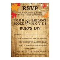 Fall wedding RSVP for rustic wedding 3.5x5 Paper Invitation Card
