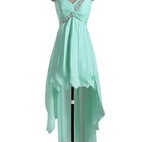 Sunvary High Low One Shoulder Applique Chiffon Cocktail Evening Dress