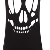 New Womens Open Back Cut Out Skull Ladies Sleeveless T-Shirt Vest Top Size 8-14