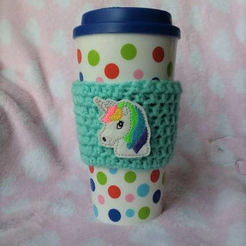 Unicorn Cup Sleeve, Crochet Cup Cozy, Unicorn Party, Coffee Cozy, Unicorn Accessories, Mug Cozy, Coffee Cup Sleeve, Coffee Accessories