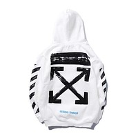 Off-White Women Men Trending Loose Print Long Sleeve Hoodie Top Sweater I