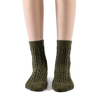 Bella Cable Knit Wool Crew Sock | Military Green