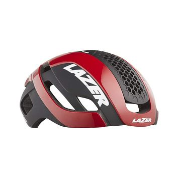 LAZER Bullet 2.0 Road Bike Helmet – Bicycling Helmets for Adults – Men & Women's Cycling Aerodynamic Head Protection -Rear Light, Reflective Stickers, Magnetic Lens Red Large