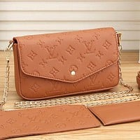 Louis Vuitton LV Women Fashion Crossbody Satchel Set Three Piece