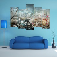 Lake And Flowers Multi Panel Canvas Wall Art